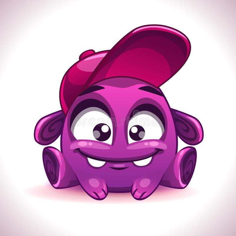 Purpurfärgat främmande gigantiskt tecken för rolig tecknad film stock illustrationer
