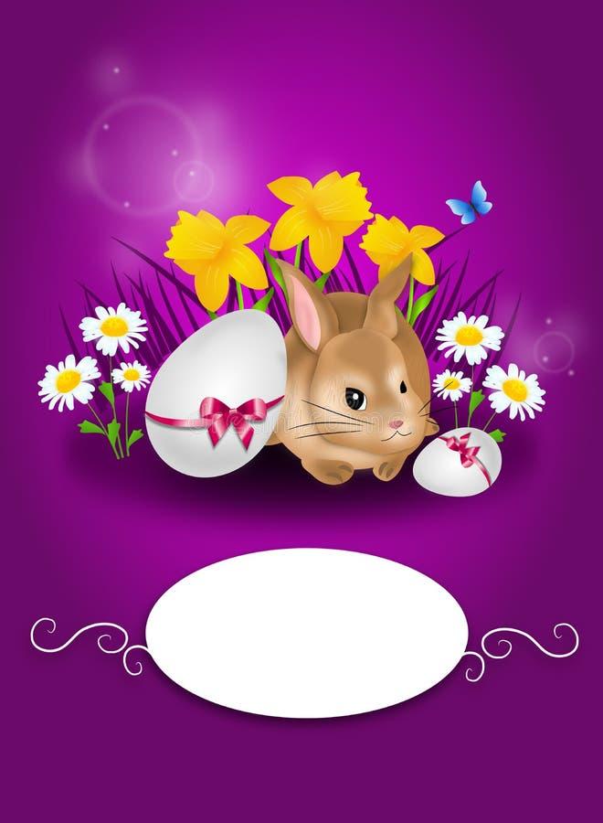 Purpurfärgat hälsningkort för lycklig påsk med kanin stock illustrationer