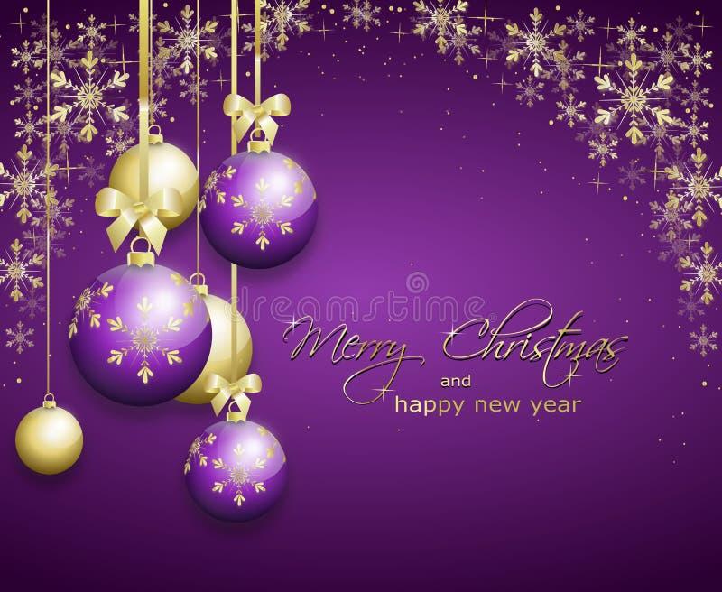 Purpurfärgat julhälsningkort royaltyfri illustrationer