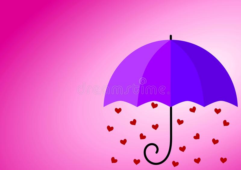 Purpurfärgat kort för paraplyhjärtaförälskelse vektor illustrationer