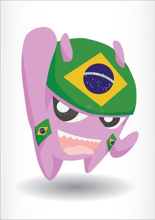 Purpurfärgat monster med den Brasilien flaggahuvudbindeln stock illustrationer