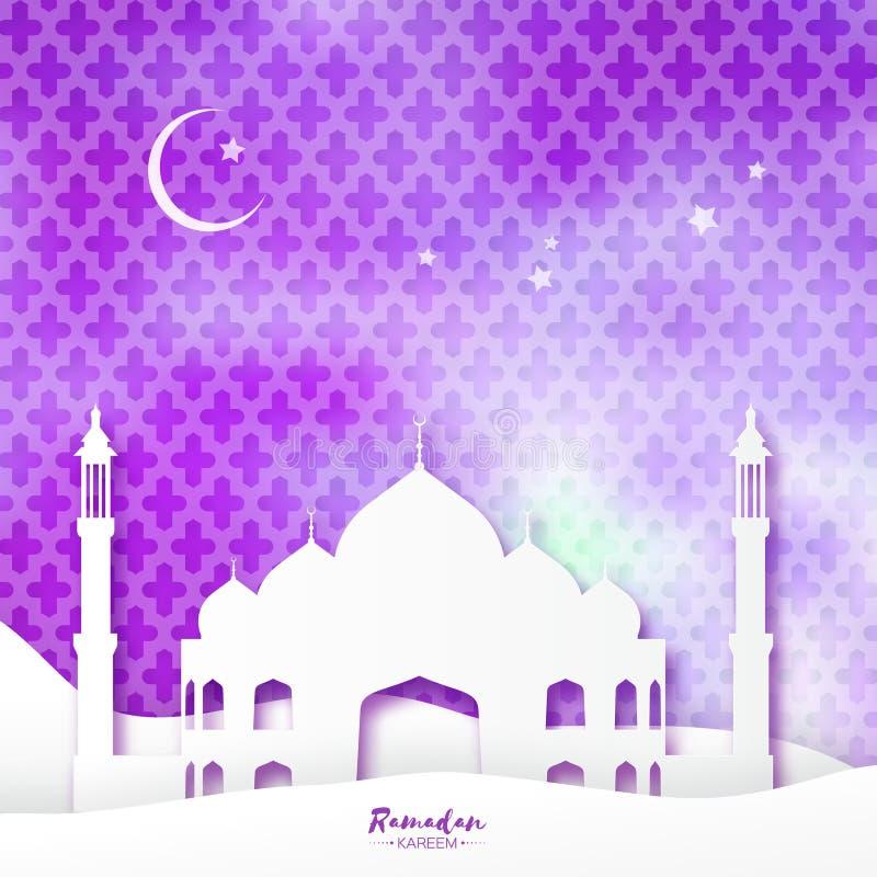 Purpurfärgat moskéRamadan Kareem Greeting kort med den arabiska arabesquemodellen vektor illustrationer