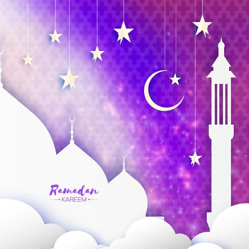 Purpurfärgat Ramadan Kareem Greeting kort Arabisk fönstermoské, moln, vita stjärnor papperssnittstil Arabesquemodell stock illustrationer