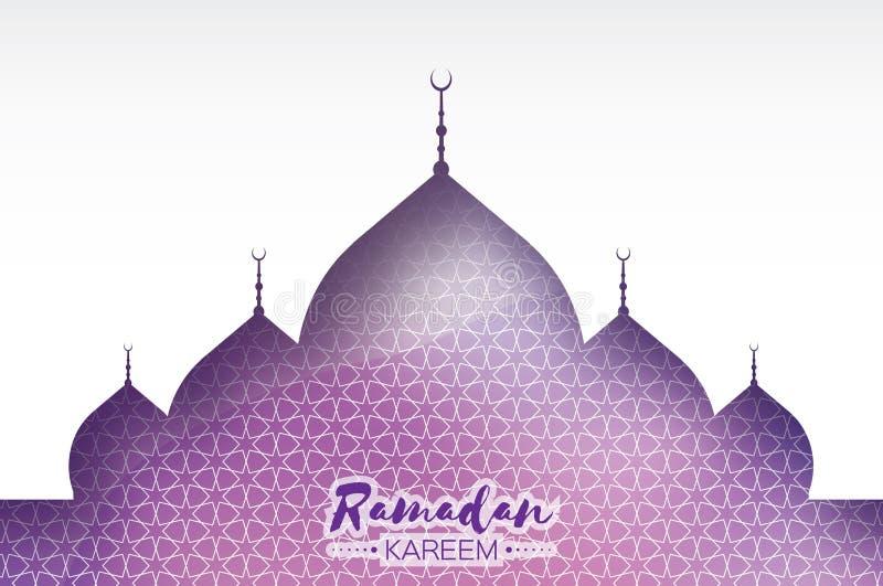 Purpurfärgat Ramadan Kareem Greeting kort Arabisk fönstermoské Stil för papperssnittkonst Arabesquemodell vektor royaltyfri illustrationer