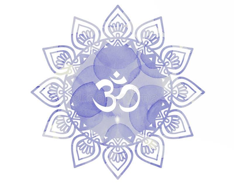Purpurfärgat symbol för vattenfärgmandalaOm Aum stock illustrationer