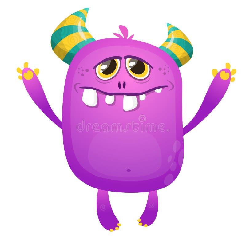Purpurfärgat tecknad filmmonster med horn Vektorn fiska med drag i illustrationen Stor samling av gulliga monster vektor illustrationer