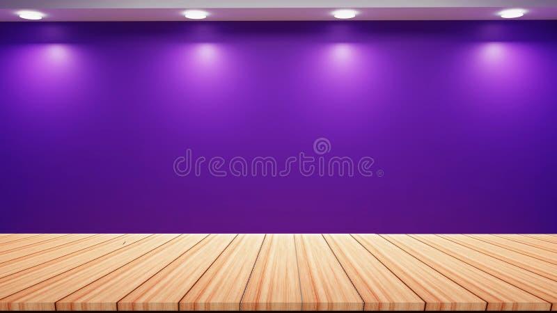 Purpurfärgat väggstudioljus med tom trägolvbakgrund stock illustrationer