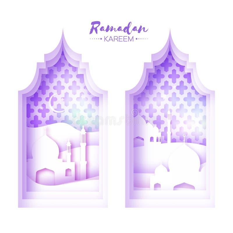 Purpurfärgat vitt Ramadan Kareem Greeting för origamimoskéfönster kort med den arabiska arabesquemodellen vektor illustrationer