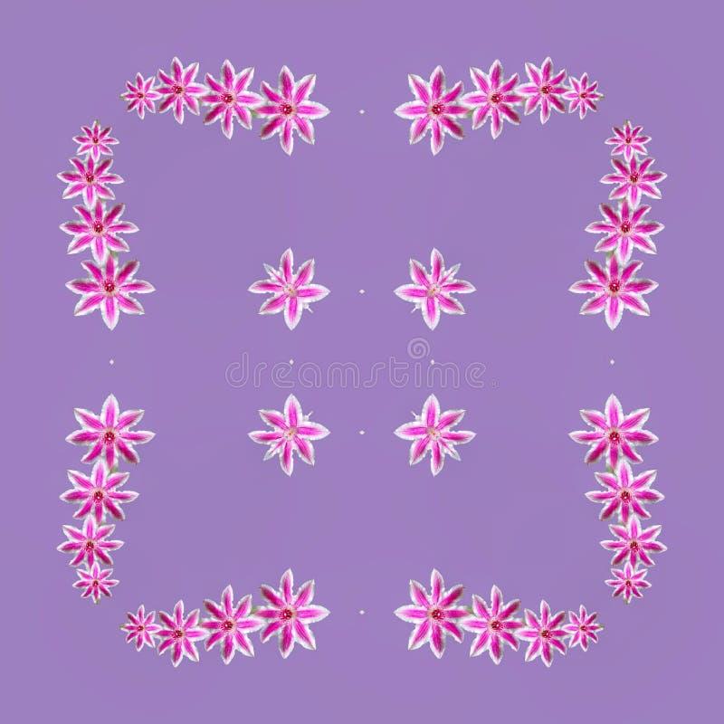 Purpurf?rgade blommor i mandala vektor illustrationer