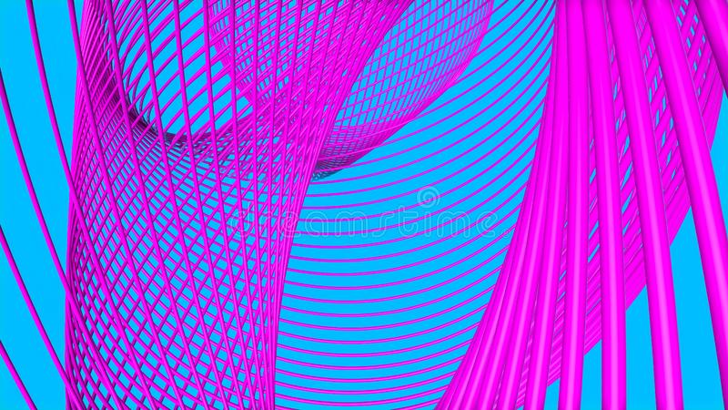 Purpurf?rgade tredimensionella cirklar p? en turkos illustrationen 3d framf?r royaltyfri fotografi