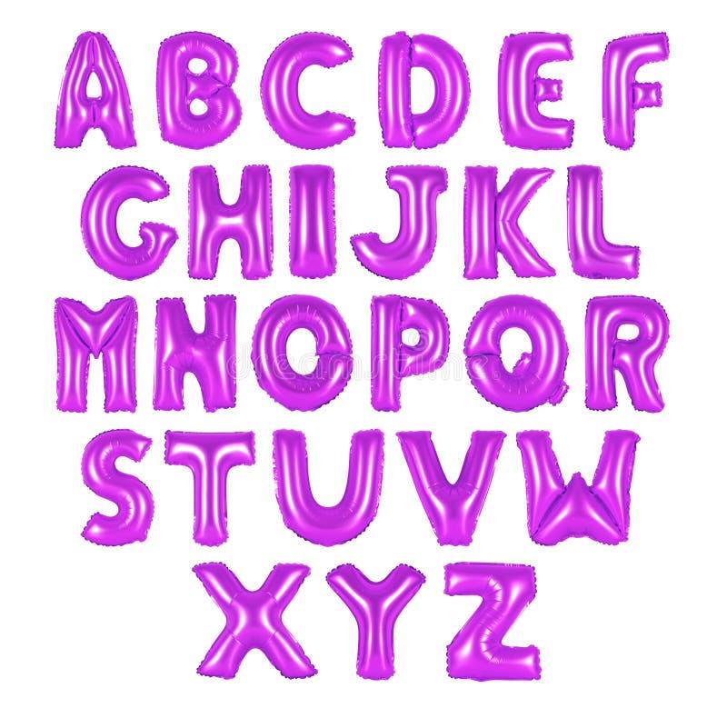 Purpurfarbe des englischen Alphabetes stockbild