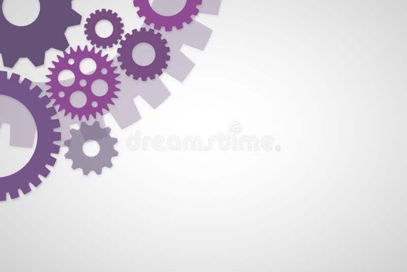Purpurgangschablone auf weißem Hintergrund für Baudesign oder Prozesskonzept lizenzfreie abbildung