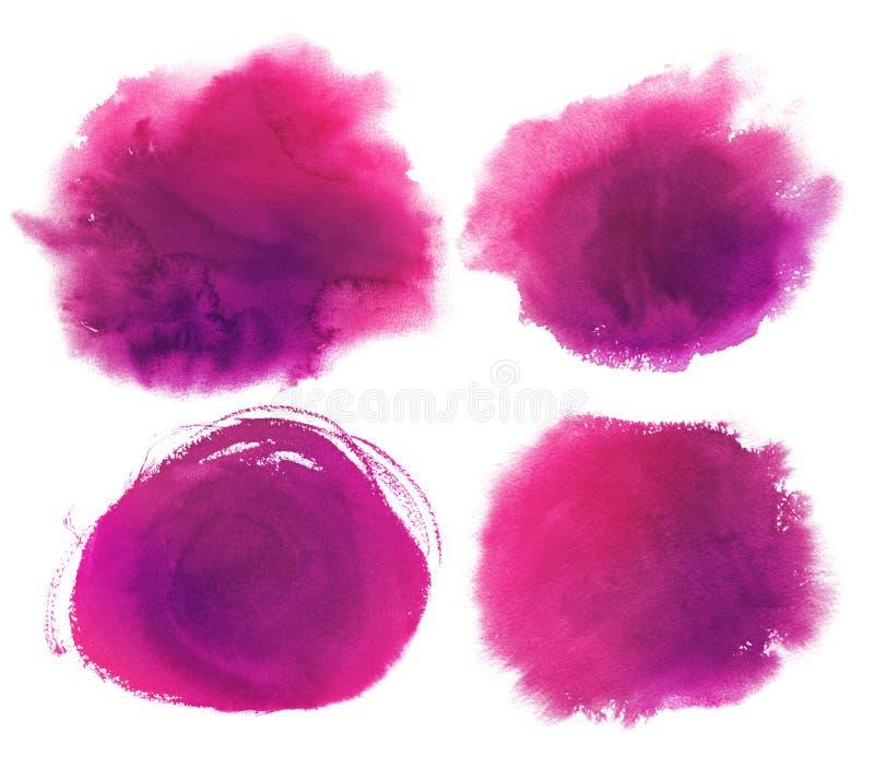 Purpurowa akwarela plami kolekcję ilustracja wektor