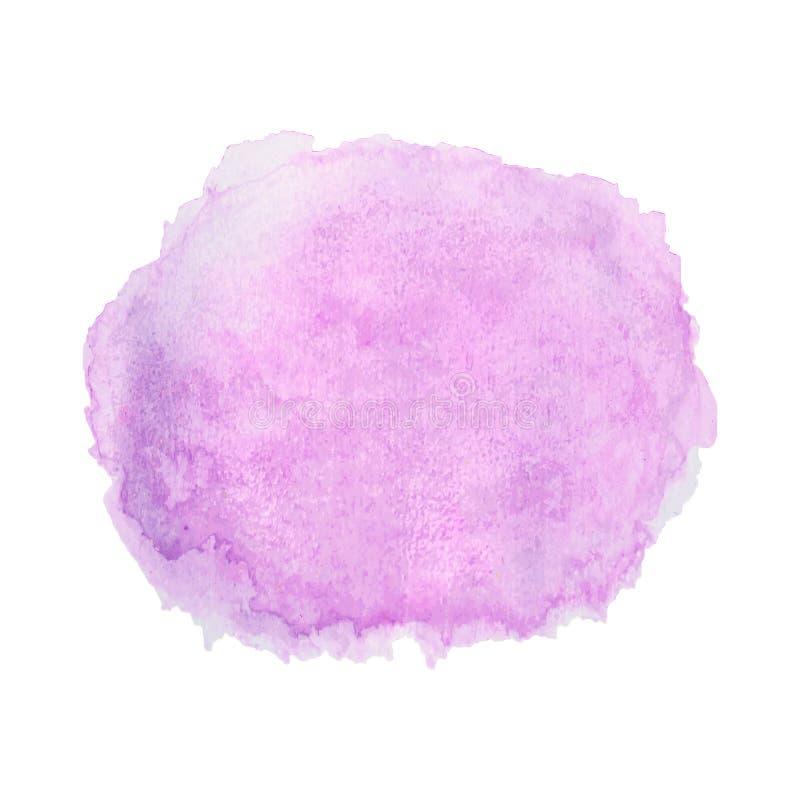 Purpurowa akwareli ręka malował, okrąg odizolowywający na białym tle Abstrakt rzadkopłynny atrament, akrylowi susi muśnięć uderze ilustracja wektor