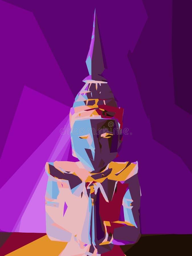 Purpurowa błękitna czerwień i żółty buddyjski stylowy abstrakt ilustracji