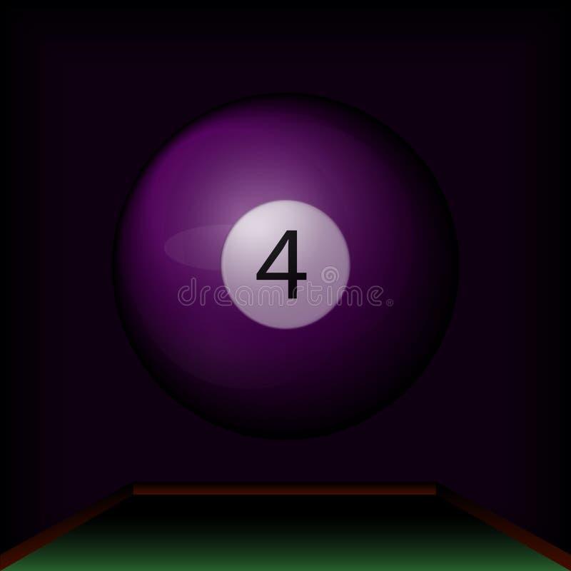 Purpurowa bilardowa piłka liczba cztery ilustracja wektor