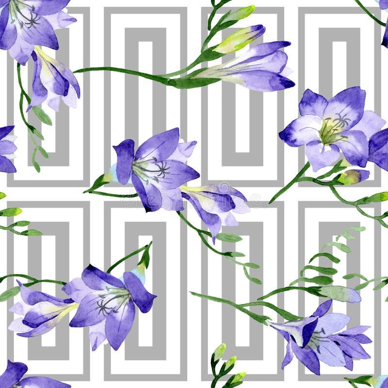 Purpurowa frezja Bezszwowy tło wzór Tkanina druku tapetowa tekstura ilustracji