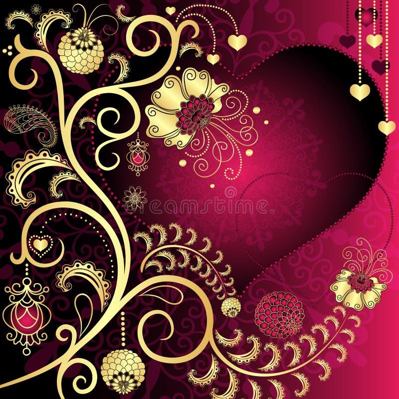 Rocznika valentine karta ilustracji