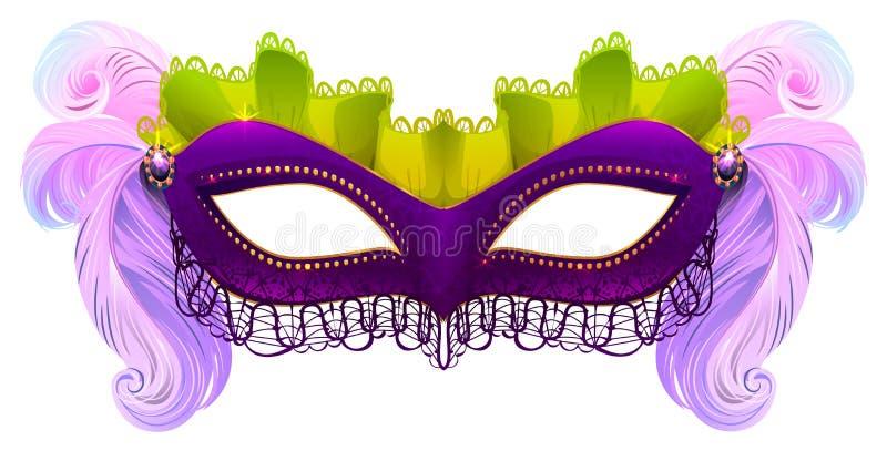Purpurowa karnawał maska z piórkami ilustracja wektor