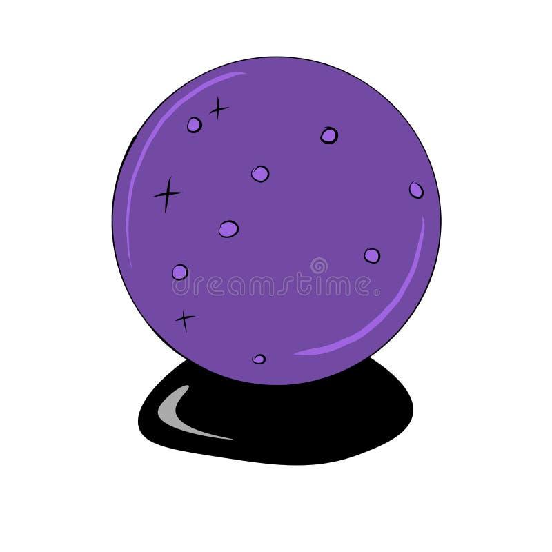 Purpurowa kryształowa kula dla przepowiedni, royalty ilustracja