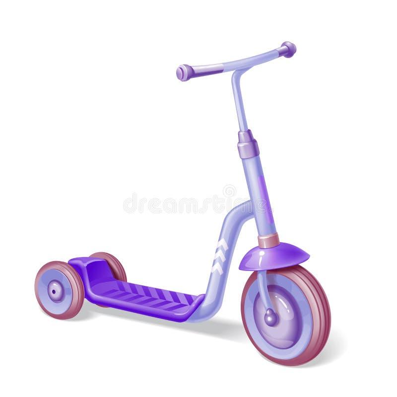 Purpurowa rolkowa hulajnoga dla dzieci Balansowy rower Eco miasta transport Wektorowa kopnięcie hulajnoga kolekcja Pchnięcie cykl royalty ilustracja