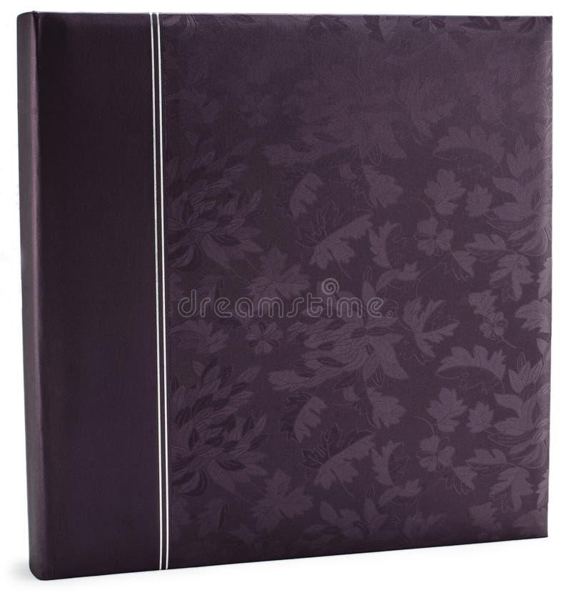 Purpurowa rzemienna album fotograficzny pokrywa odizolowywająca fotografia royalty free