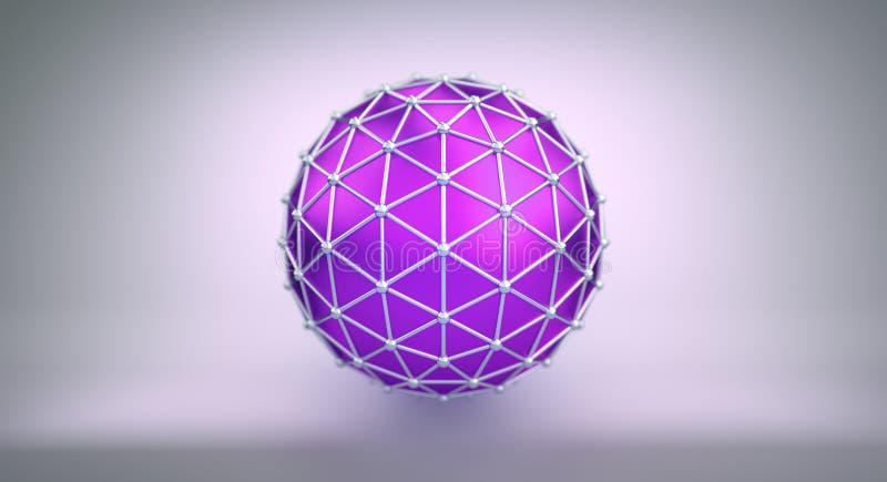 Purpurowa sfera i poligonalna wireframe 3D ilustracja royalty ilustracja