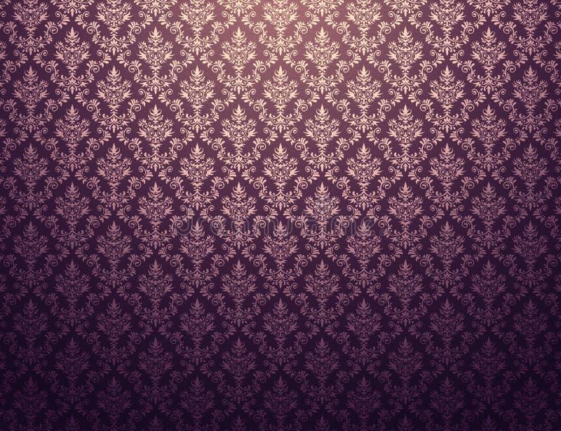 Purpurowa tapeta z złoto adamaszka wzorem royalty ilustracja