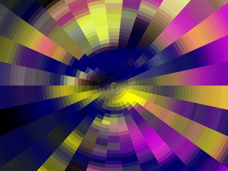 Purpurowe błękitne żółte kółkowe geometrie, tło, grafika, abstrakcjonistyczny tło i tekstura, royalty ilustracja