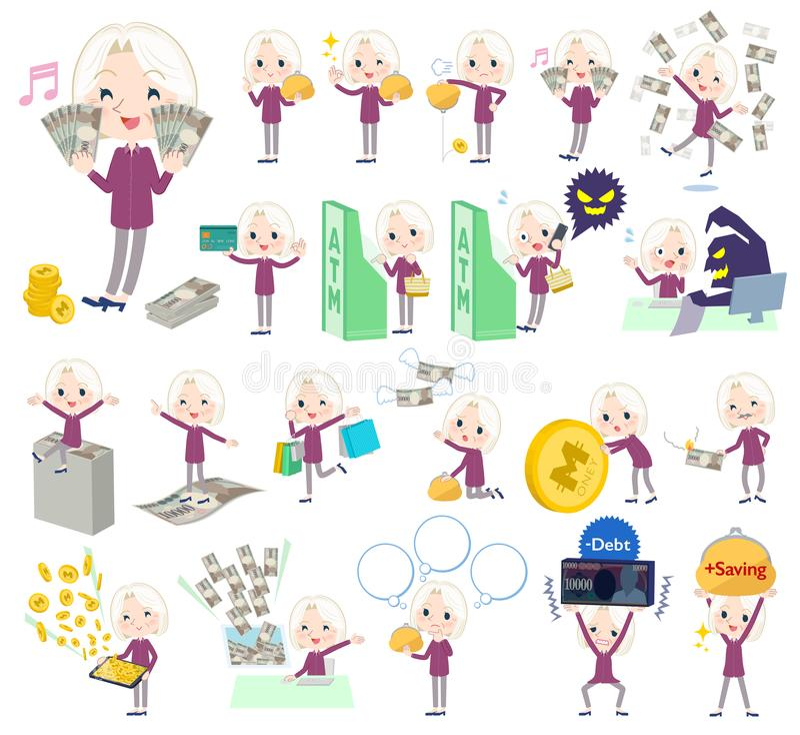 Purpurowe koszulowe stare kobiety White_money royalty ilustracja