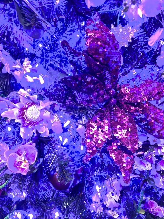 Purpurowe migocące Bożenarodzeniowe dekoracje obraz stock