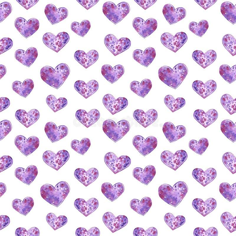 Purpurowe Serce bezszwowy wz?r, akwareli ilustracja ilustracja wektor