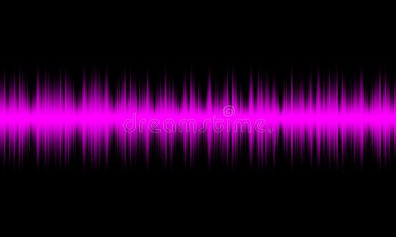 Purpurowego cyfrowego wyrównywacza audio rozsądne fale na czarnym tle, ilustracja wektor