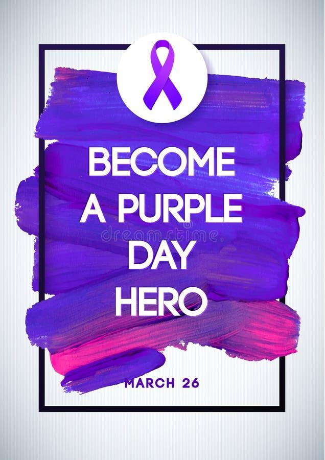 Purpurowego dnia globalny dzień epilepsi świadomość Uderzenia Fiołkowy Wektorowy Ilustracyjny Biały tło Doskonalić dla odznak, sz royalty ilustracja