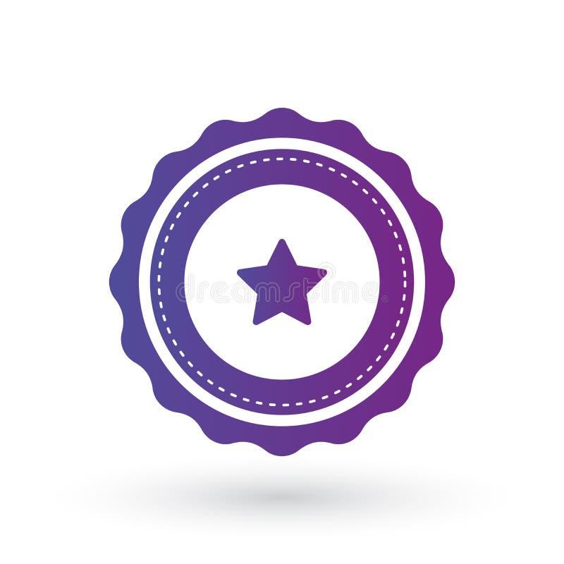 Purpurowego gradientu gładki ostrzący wybuch z gwiazdą, odznaką, foką lub etykietką z linią wokoło, płaska wektorowa ilustracja d ilustracji