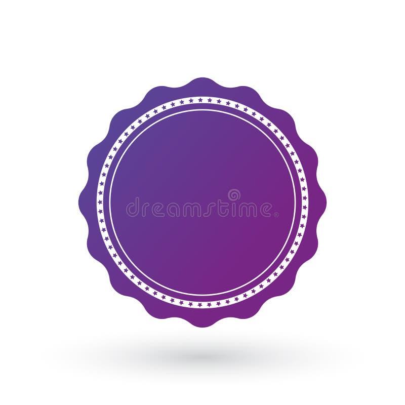 Purpurowego gradientu gładki ostrzący wybuch z gwiazdami, odznaką, foką lub etykietką z linią wokoło, płaska wektorowa ilustracja ilustracji