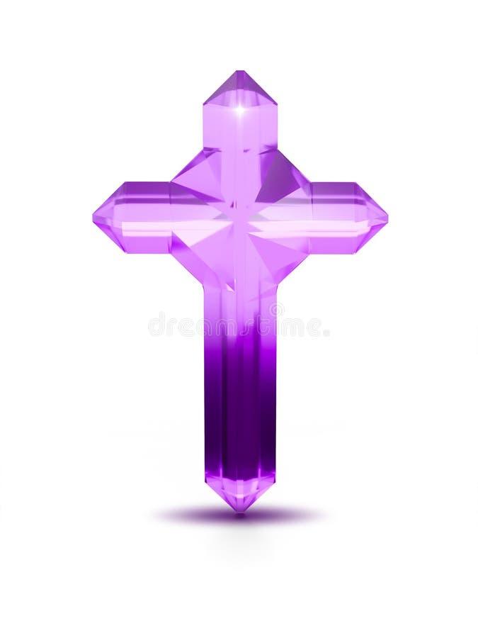 Purpurowego kryształu krzyża religijny symbol na białym tle ilustracja wektor