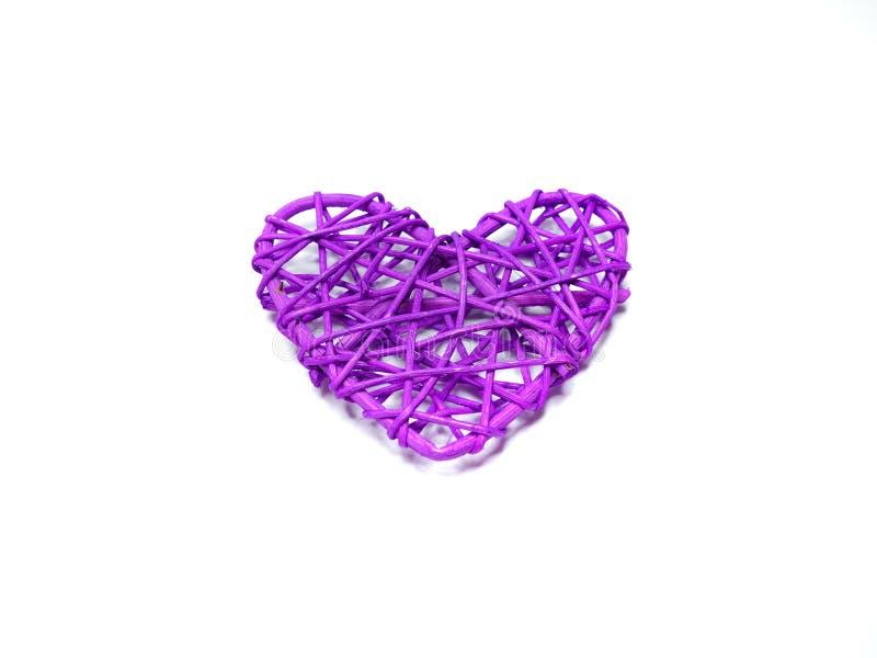 purpurowego serca kształtny rattan fotografia royalty free