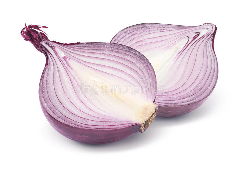 Purpurowej cebuli połówka na białym tle zdjęcie stock