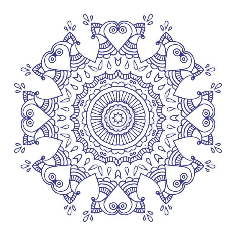 Purpurowej linii kwiecisty indyjski mandala ilustracji