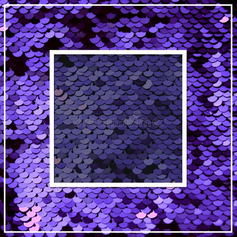 Purpurowi mruganie cekiny Przestrzeń dla teksta Błyszcząca iskrzasta tekstura dla disigners łuna kwadrat zdjęcia royalty free