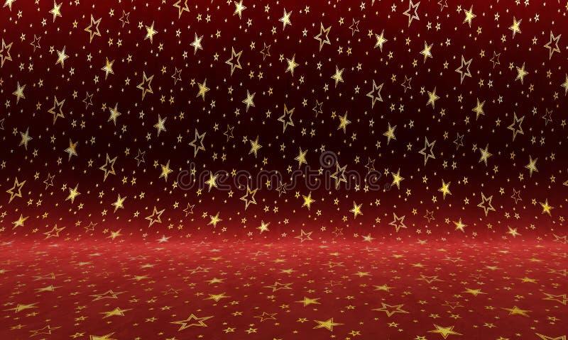 Purpurowy aksamitny tło z złocistymi gwiazdami struktura kolorowa royalty ilustracja