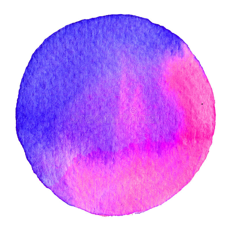 Purpurowy akwarela okrąg Plama z papierową teksturą Projekta element odizolowywający na białym tle Ręka rysujący abstrakcjonistyc ilustracji