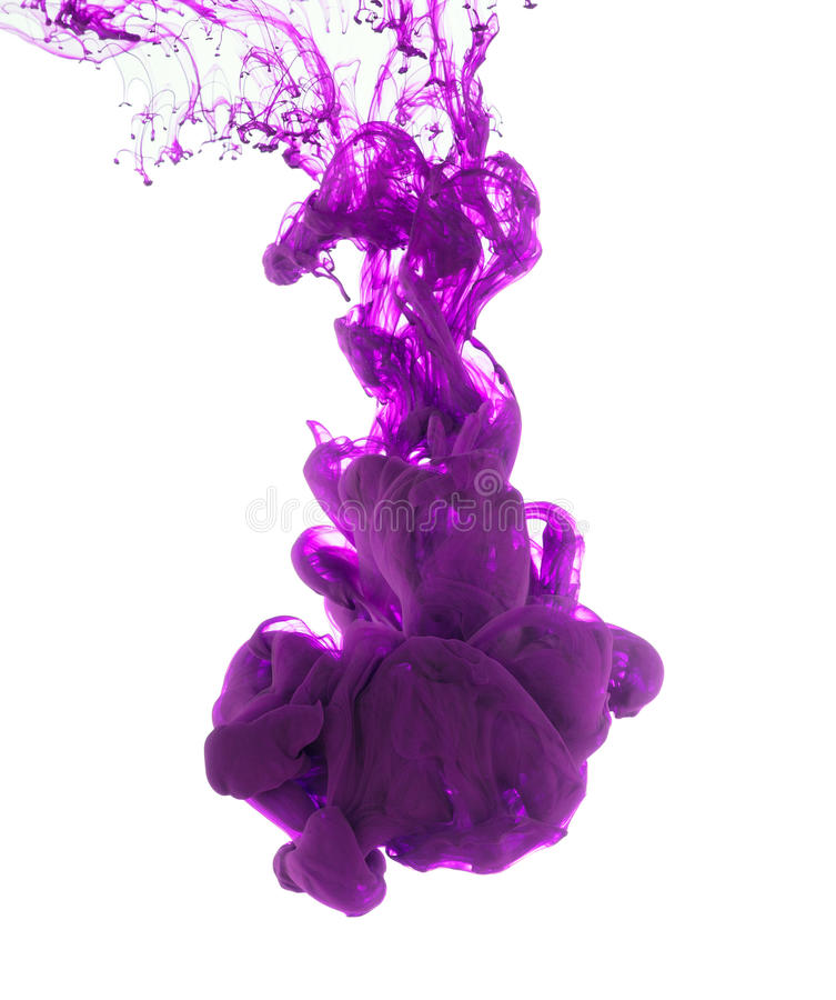 Purpurowy atrament odizolowywający na białym tle fotografia royalty free