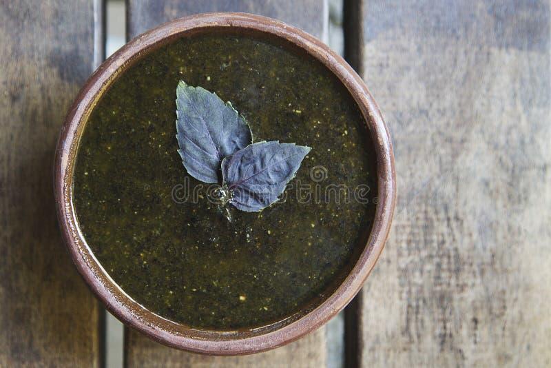 Purpurowy basilu pesto zdjęcie royalty free