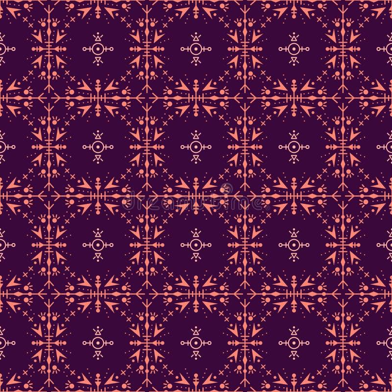 Purpurowy bezszwowy wzór z etyka plemiennymi elementami royalty ilustracja