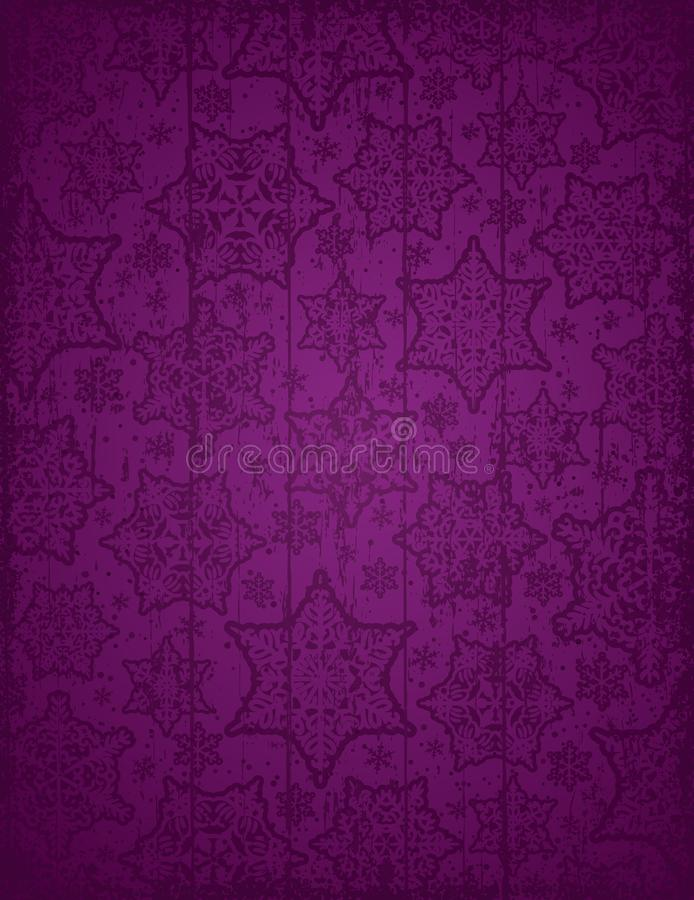 Purpurowy bożego narodzenia tło z płatkami śniegu i gwiazdami, wektor il ilustracji