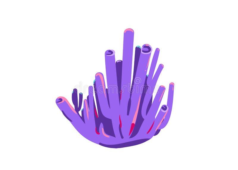 Purpurowy cewkowaty koral na białym tle ilustracja wektor