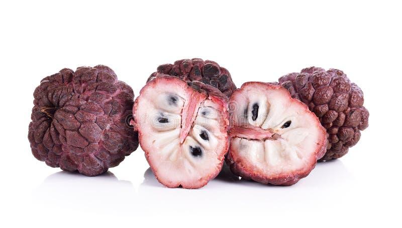 Purpurowy custard jabłko na białym tle obraz stock