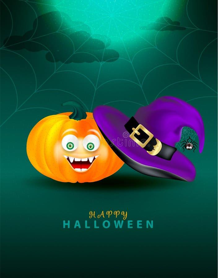 Purpurowy czarownica kapelusz z strasznym wystrojem czarny śliczny pająk na pajęczyny i pomarańcze bani z szczęśliwą potwór twarz royalty ilustracja